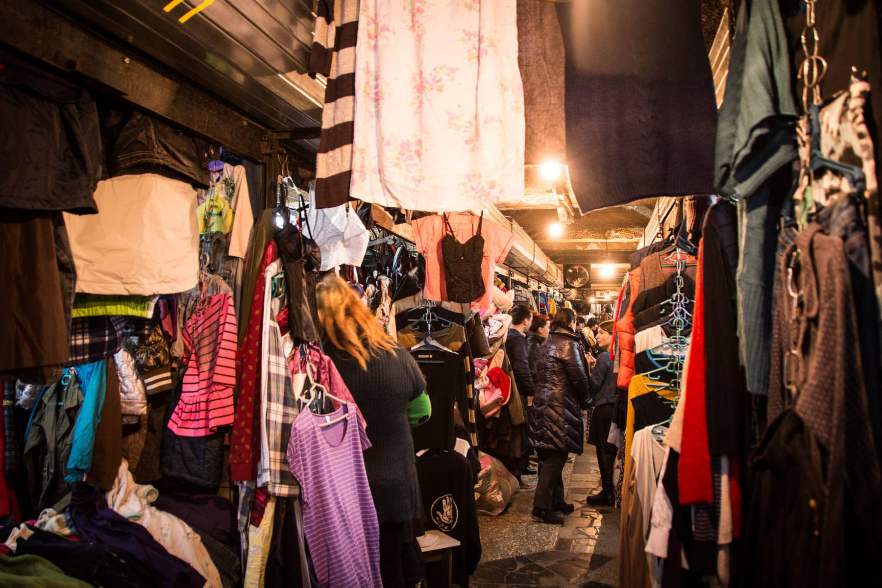 The underground clothing section at the Dezerter Bazaar in Tbilisi