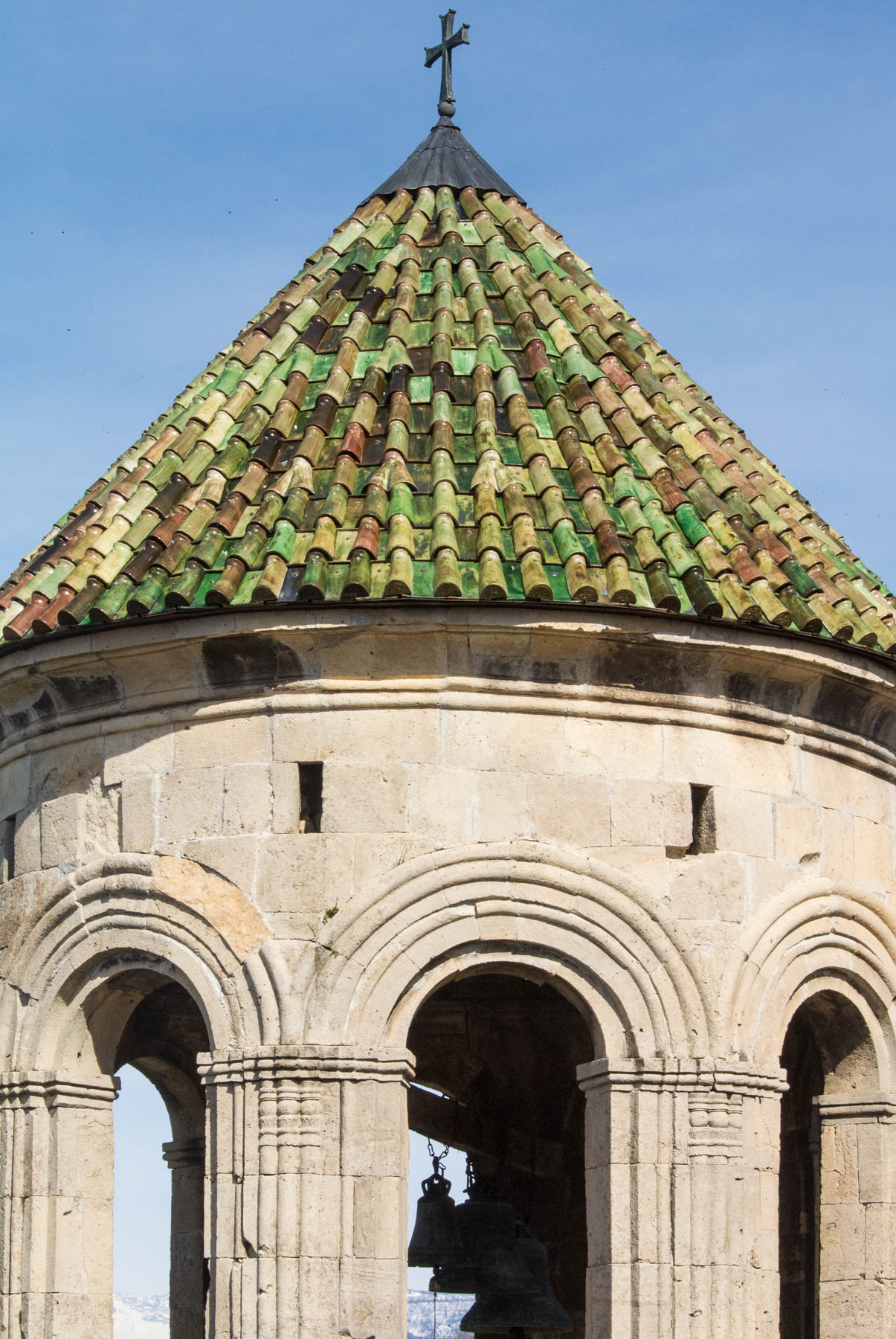 Colorful roof tiles on Gelati monastery in Kutaisi, Georgia