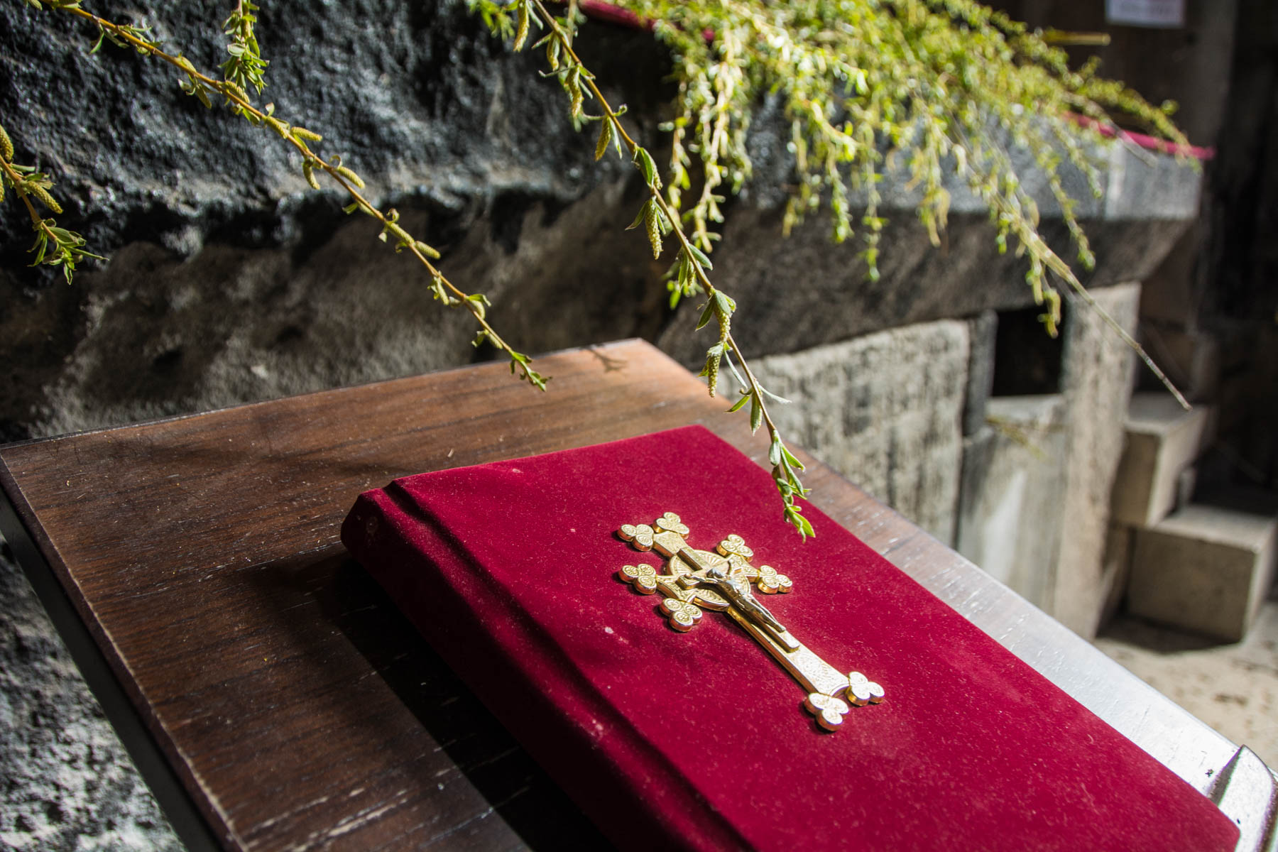 A bible near the altar on our visit to Haghpat monastery in Armenia