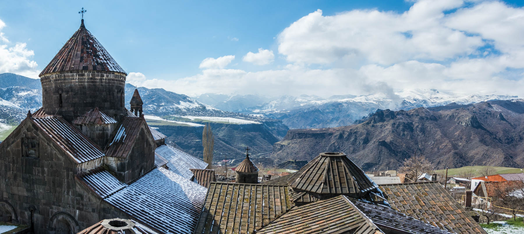 Panorama of the view from the bell tower of Haghpat monastery in Armenia