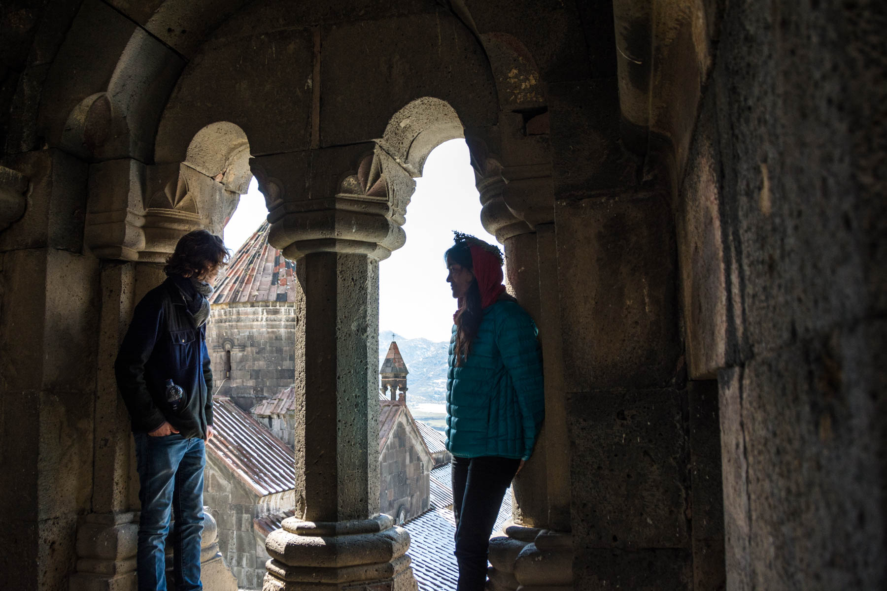 Admiring the view from Haghpat monastery in Armenia.