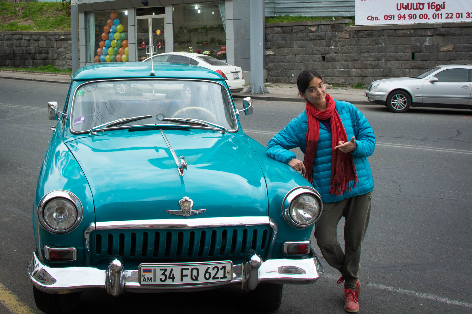 Cool turquoise taxi in Yerevan, Armenia.