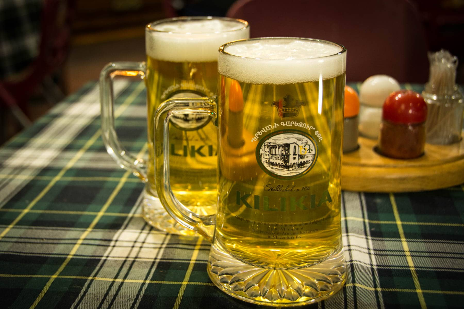 Two pints of Kilikia beer in Yerevan, Armenia.