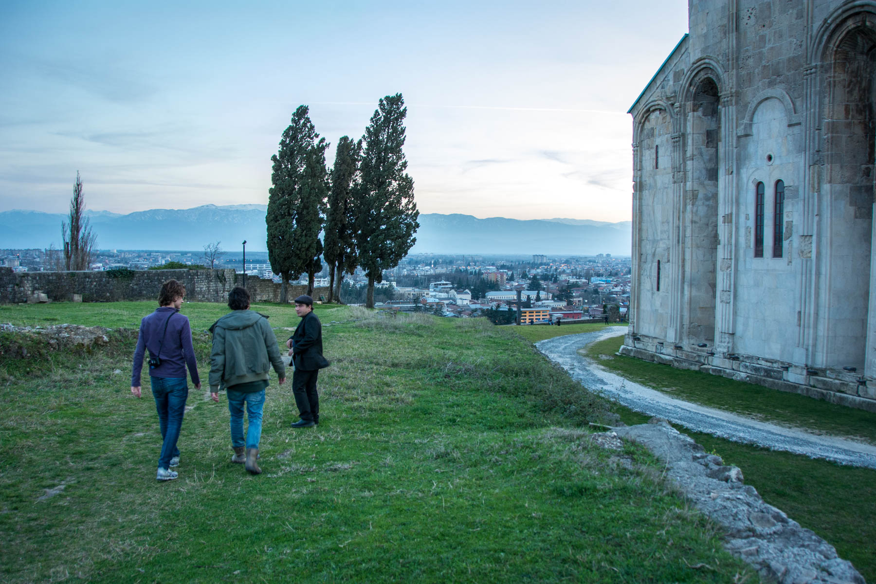 Tour outside of Bagrati cathedral in Kutaisi