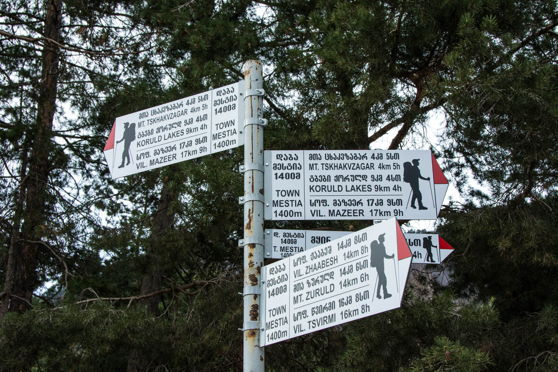 Trail signs in Mestia