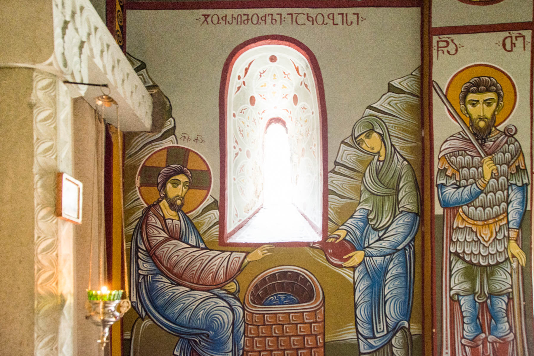Fresco painting near the spring of Saint Nino at Bodbe convent in Georgia