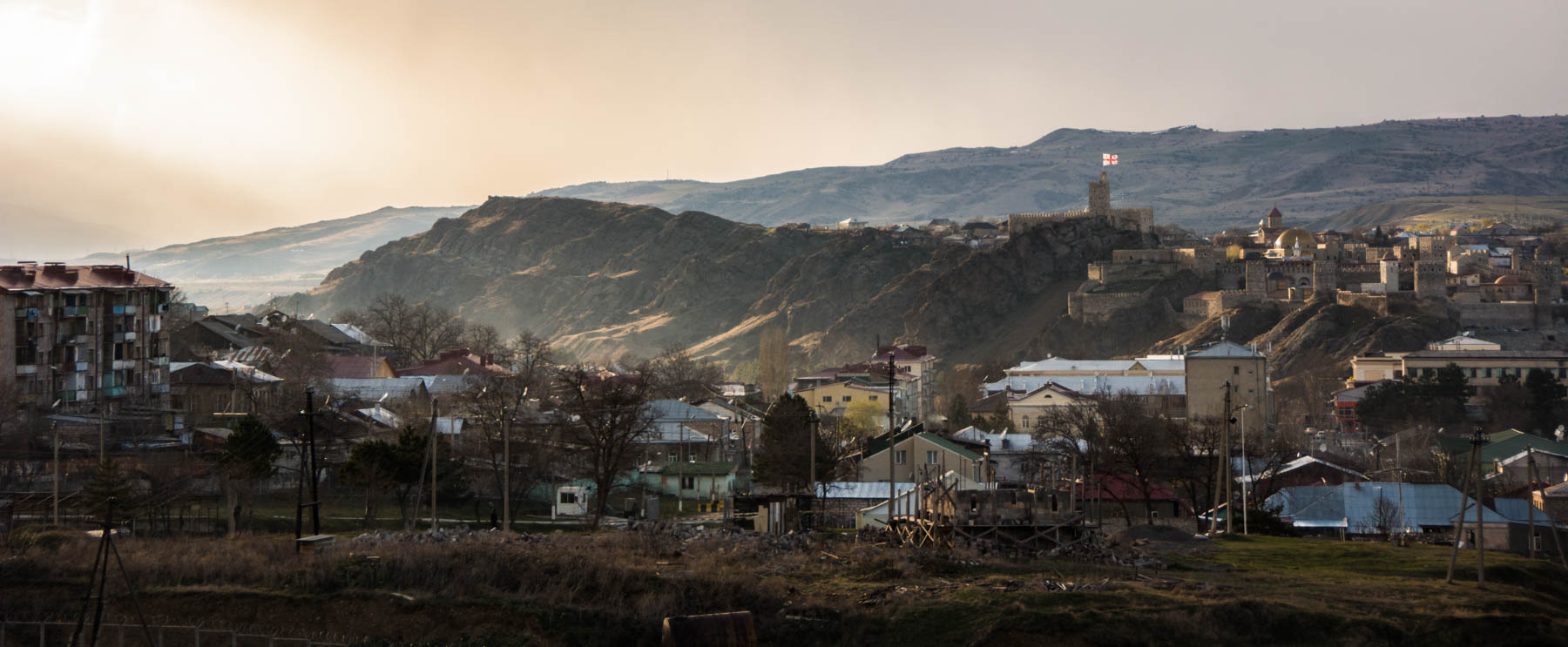 The city of Akhaltsikhe, Georgia at sunset.