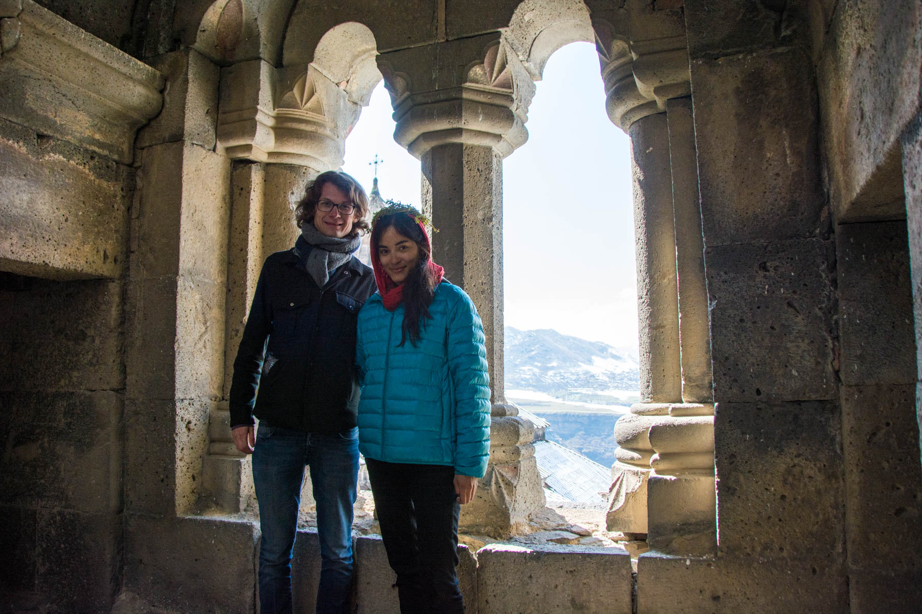 Traveling as an unmarried couple in Armenia, at Haghpat monastery.