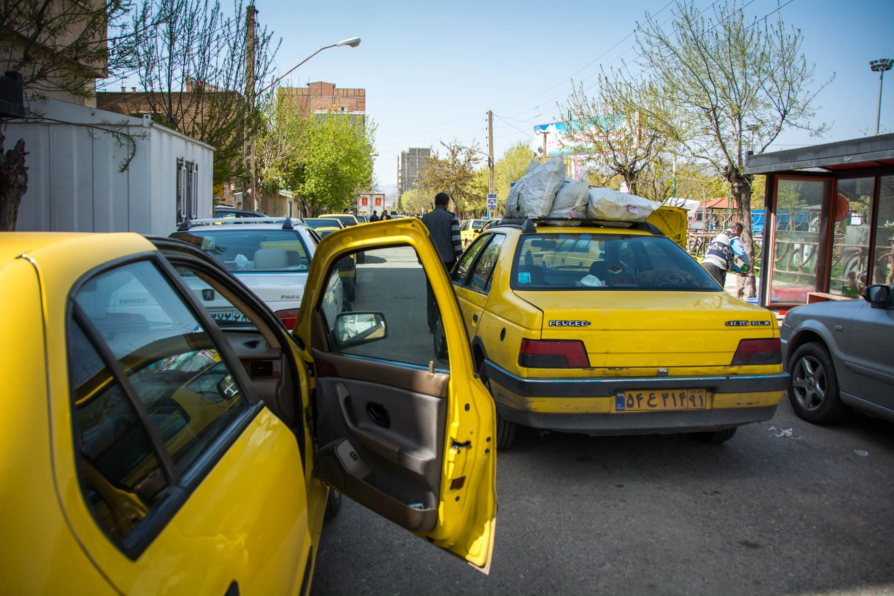 Taxi stand at Jolfa after crossing the Armenia Iran border crossing