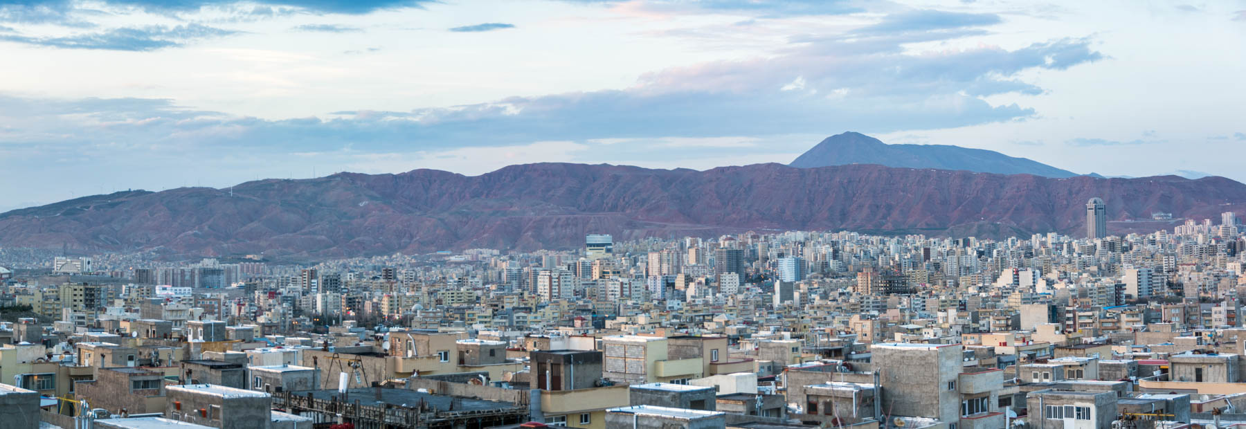 A panoramic view of Tabriz, Iran right after sunset.