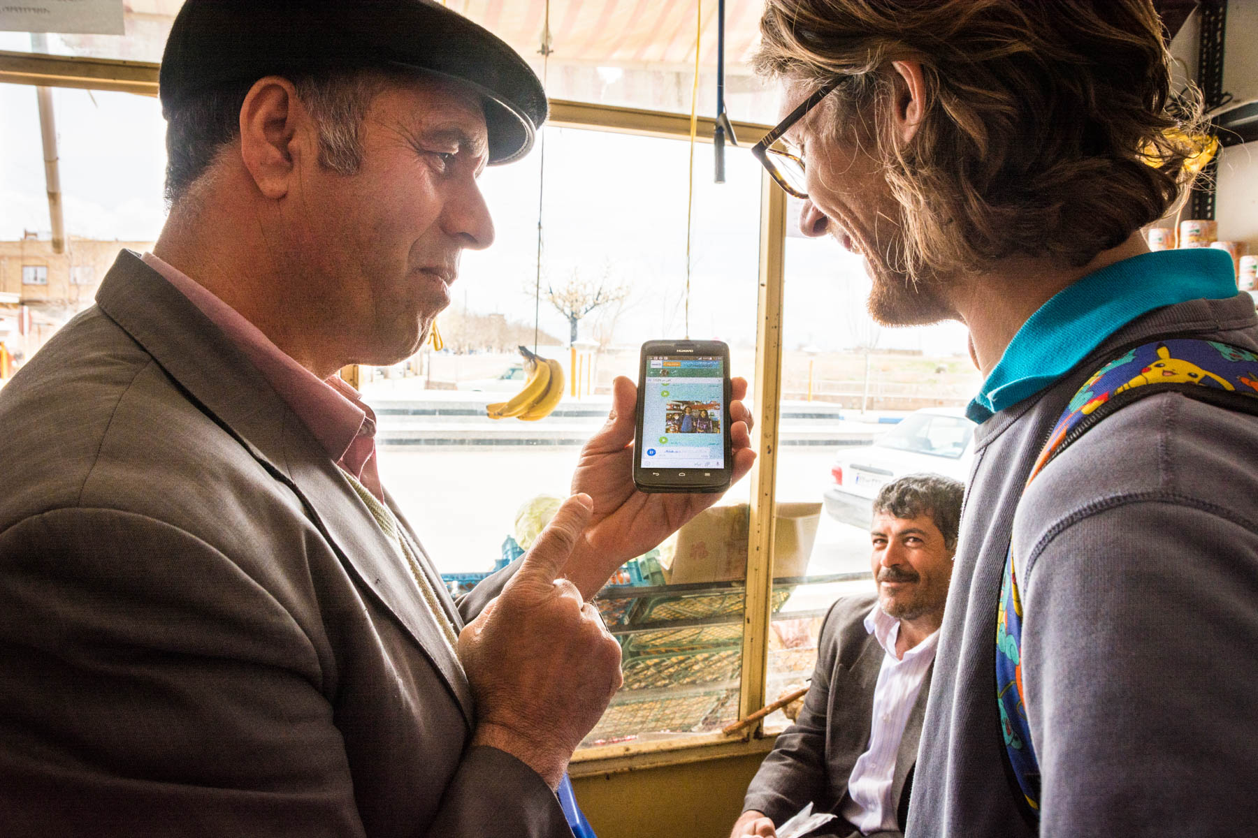 Using Whatsapp to communicate with a man in Soltaniyeh, Iran