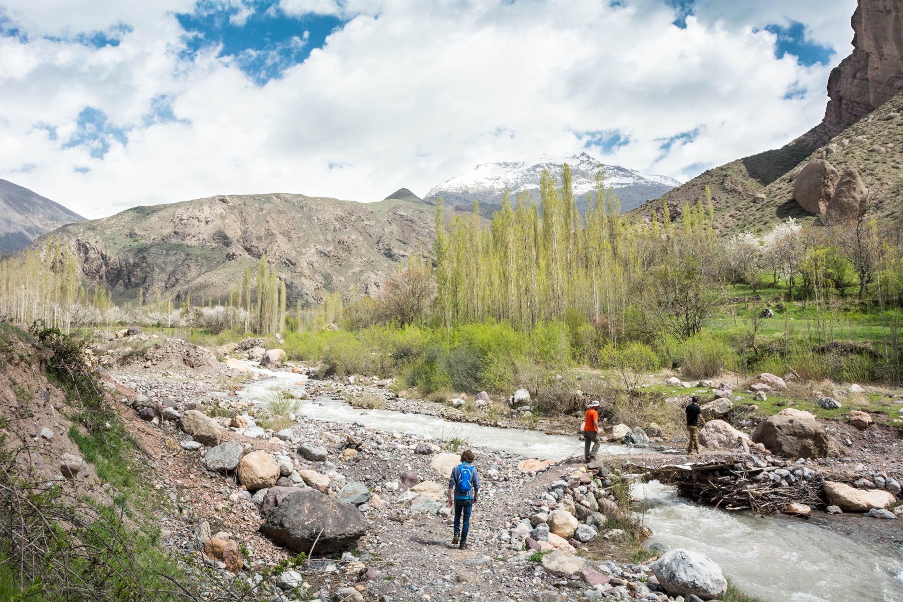 Crossing a stream to enter gorges in the Alamut Valley in Iran