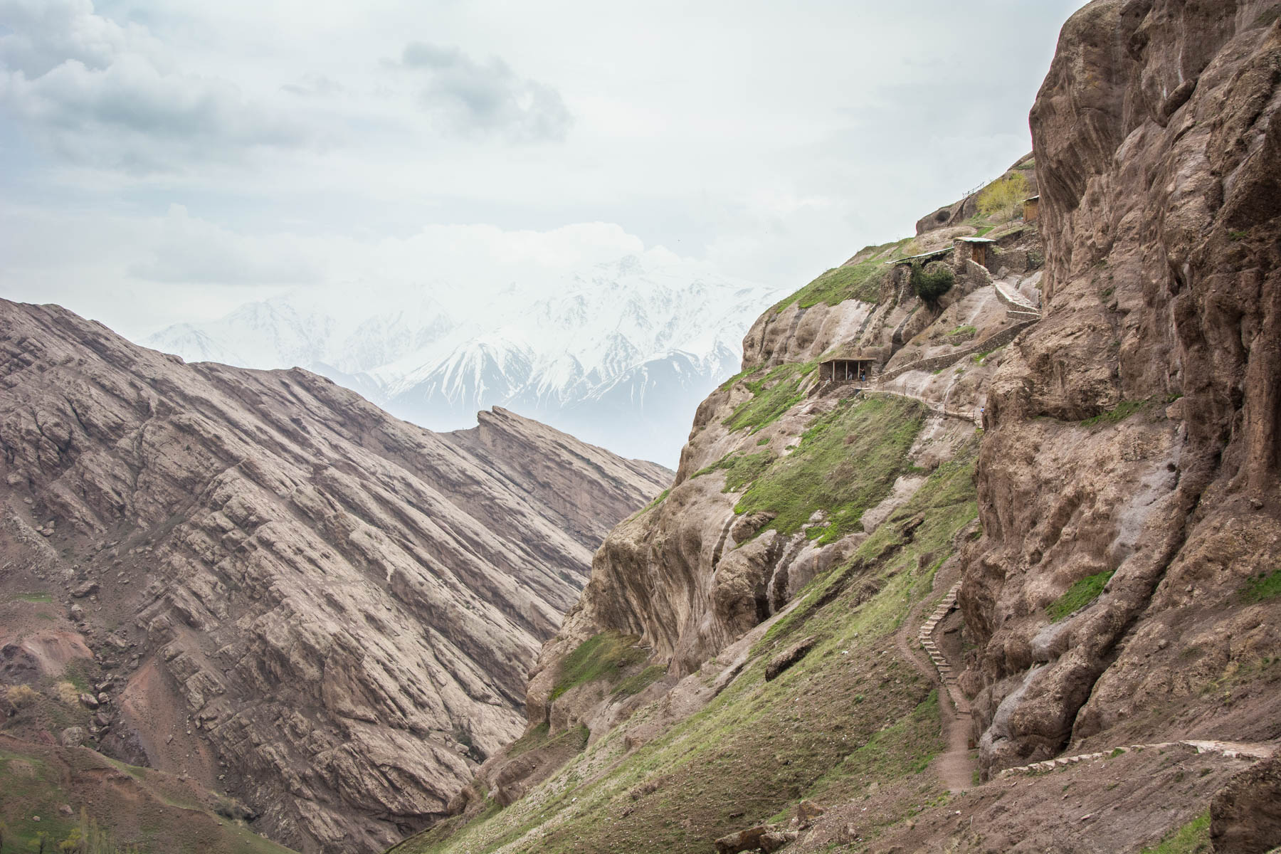 Zig-zagging stairway up to Alamut Castle, one of the Castles of the Assassins in the Alamut Valley in northern Iran.