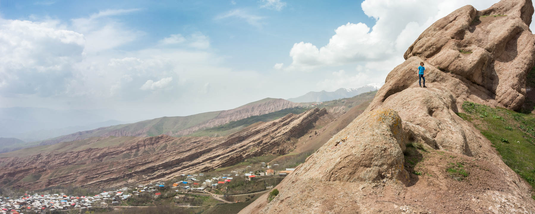 A panoramic view of the Alamut Valley from Alamut Castle in Iran.