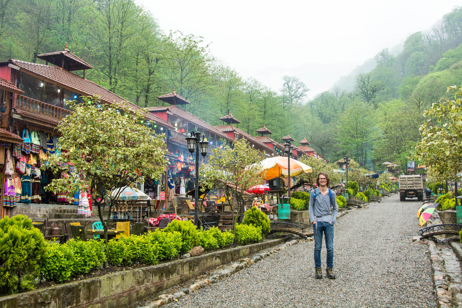 The entrance of the Qa'leh Rudkhan park in Iran