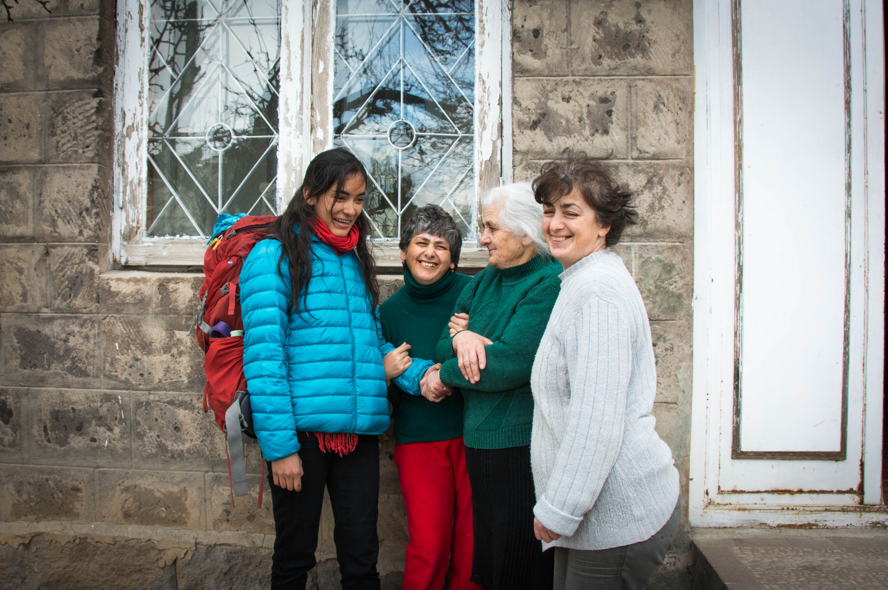 A friendly Armenian family in Gyumri, Armenia.