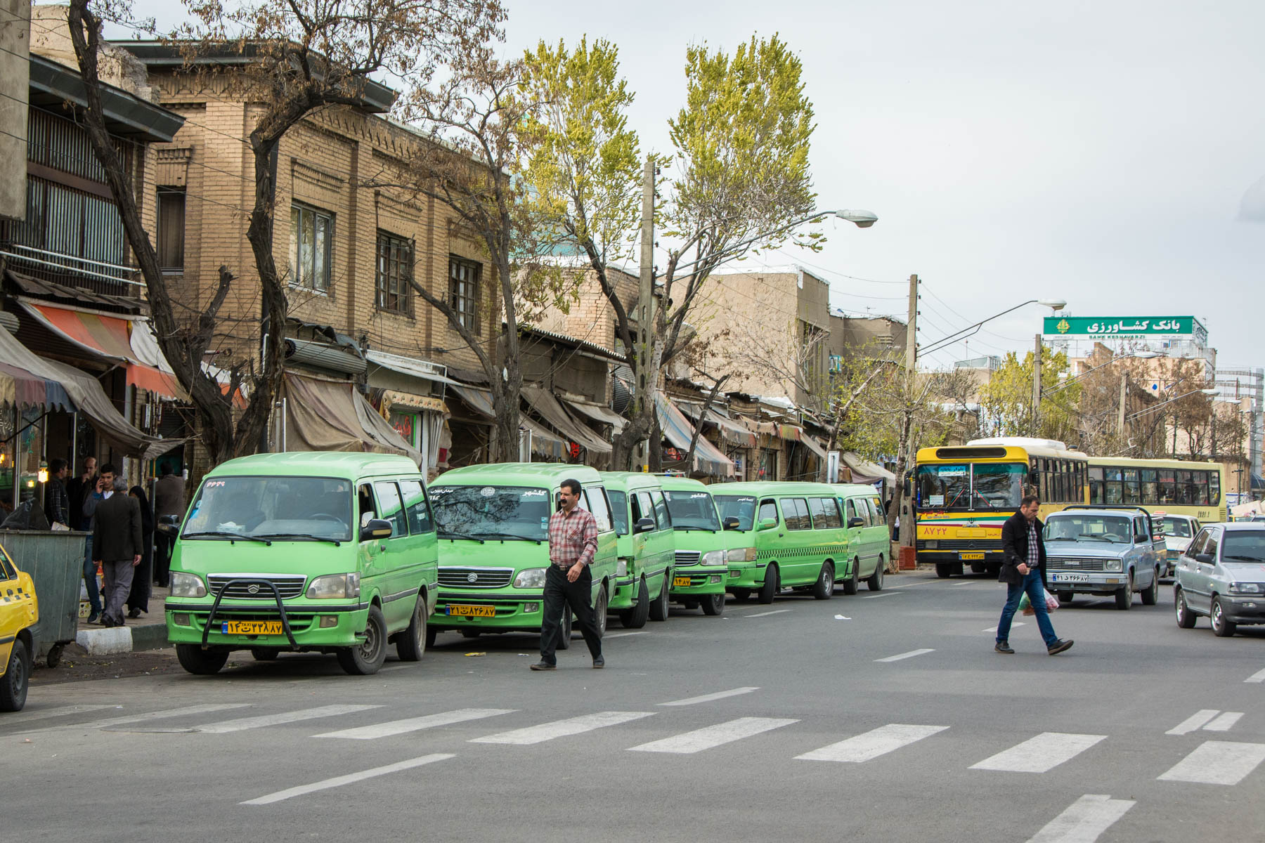 Shuttle taxis in Iran, in the city of Zanjan.