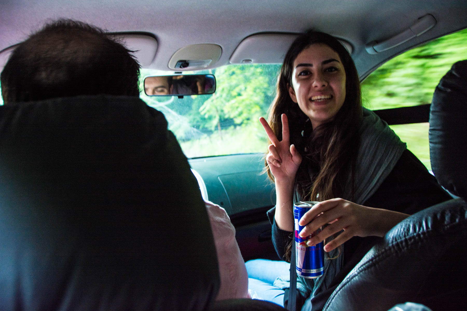 Tales of Iranian hospitality: crazy Masha, a Couchsurfing host, on the way back into the city center of Gorgan, Iran.