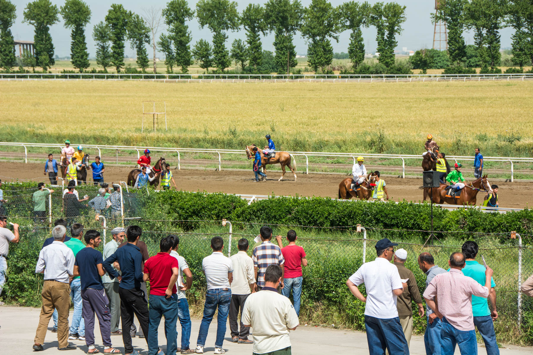 The jockeys and their rides being displayed before the race at the horse races in Gonbad-e Kavus, Iran.