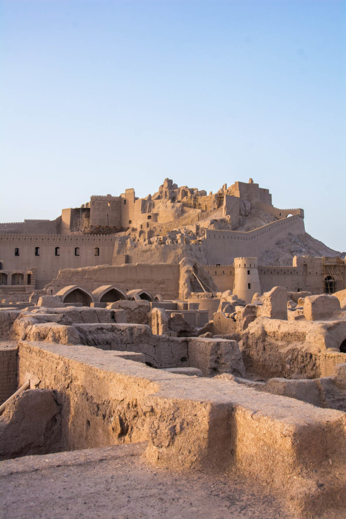 Bam citadel at sunset, after the earthquake.