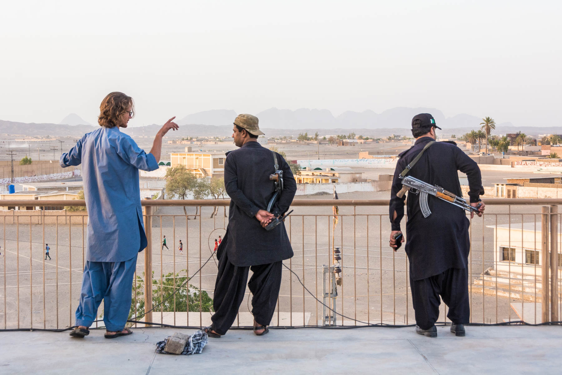 Surveying Dalbadin, Pakistan with the Levies from the roof.