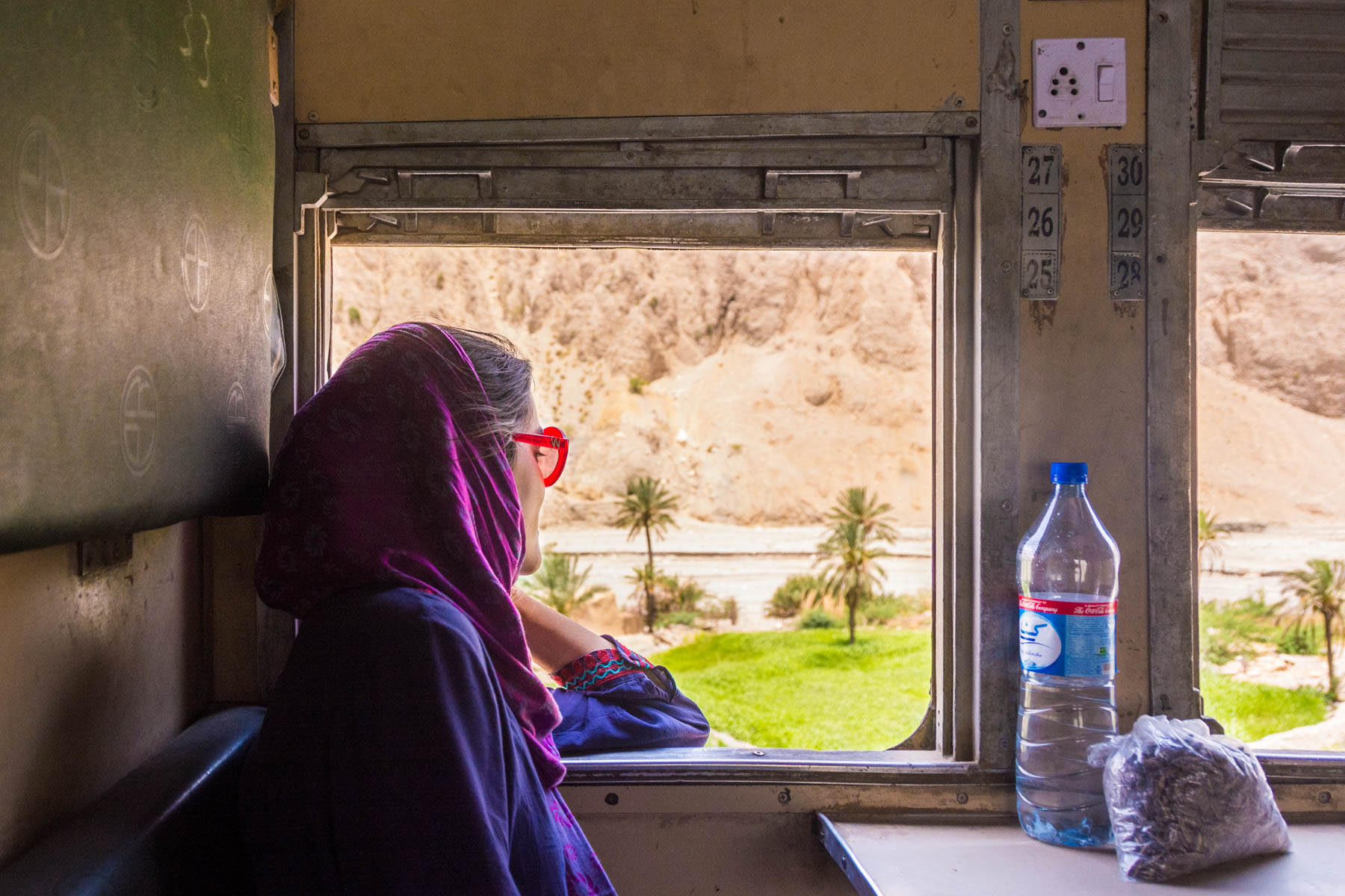 Looking out the window of the train from Quetta to Karachi, Pakistan