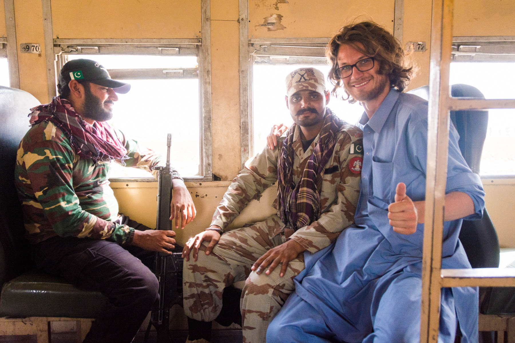 Our armed escort on the train from Quetta to Karachi