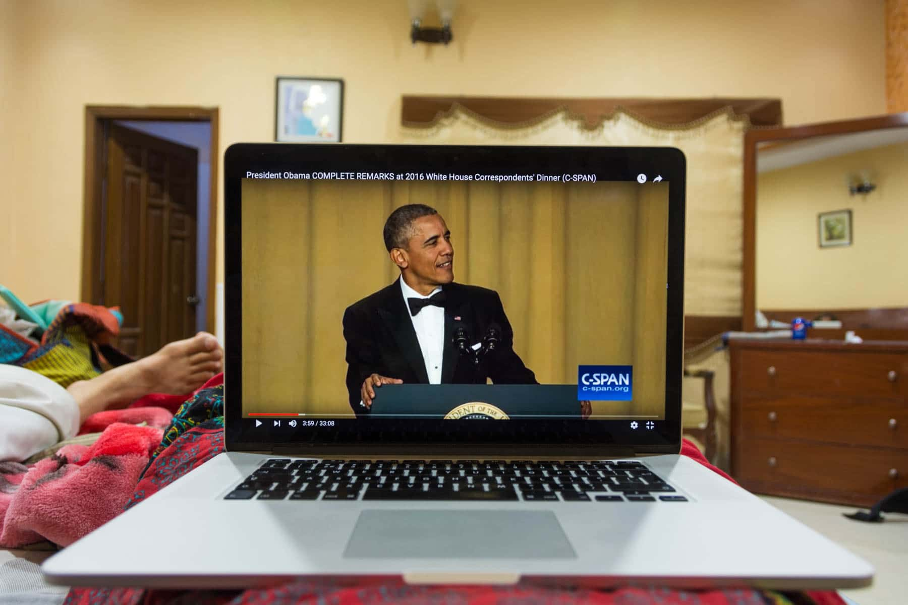 Watching a video of the Correspondents dinner at SRO guesthouse in Makli, Pakistan