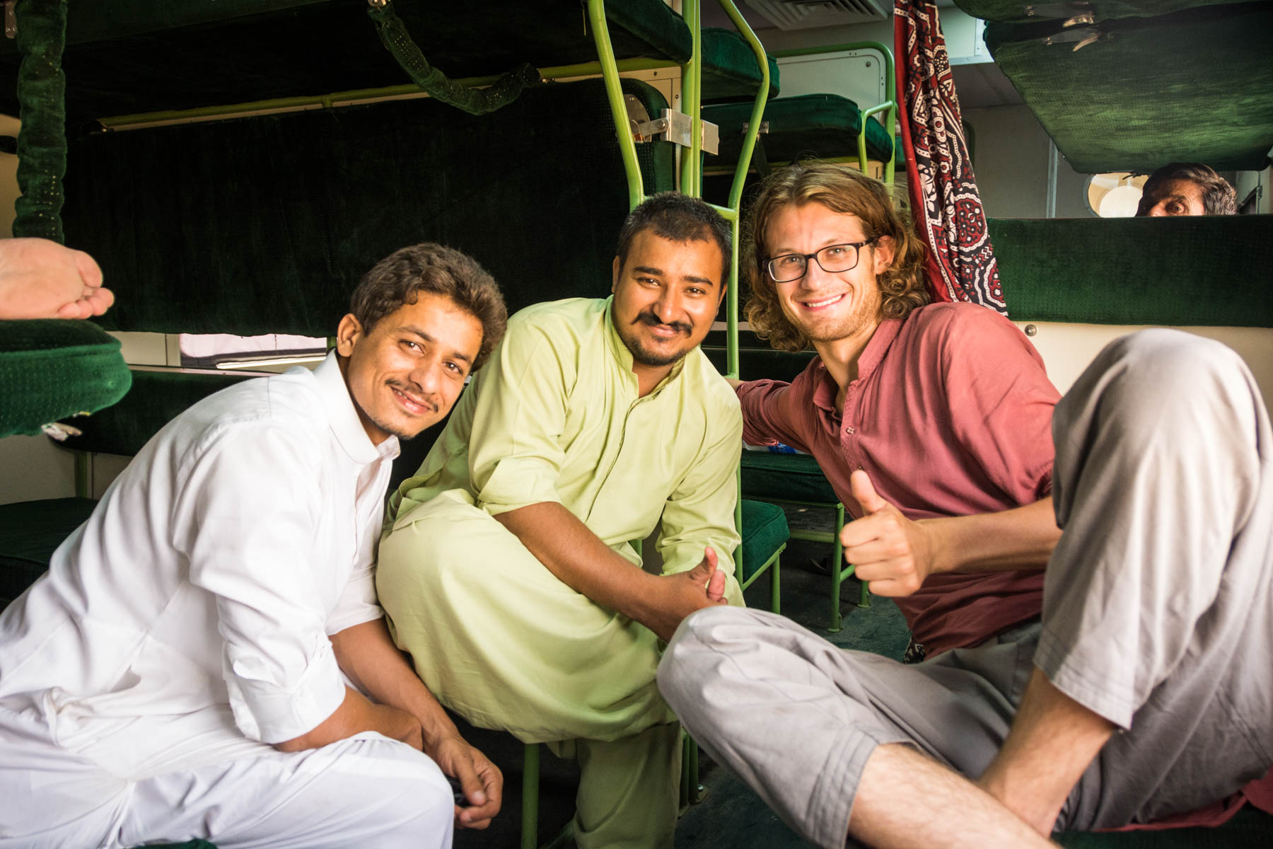 Making friends on the train in Pakistan