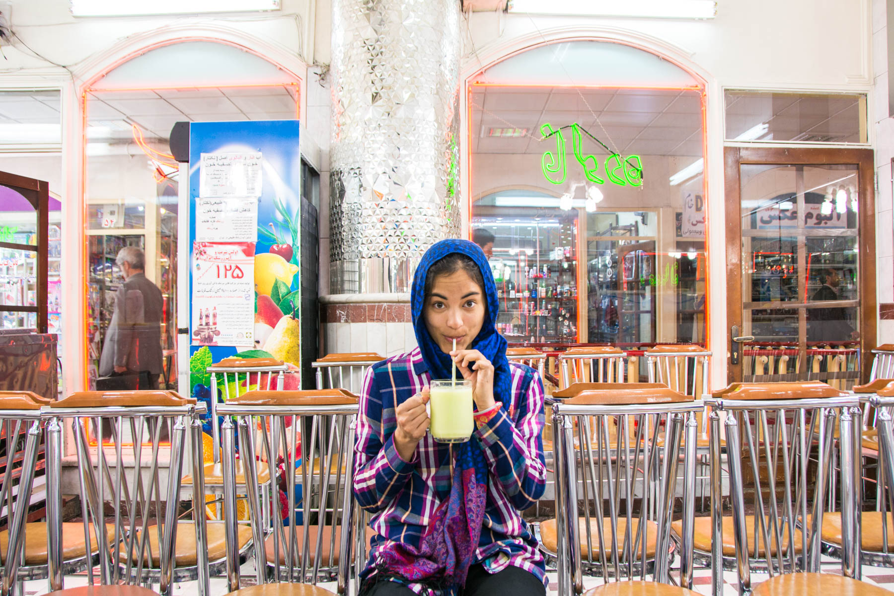 Drinking a melon smoothie in Tabriz