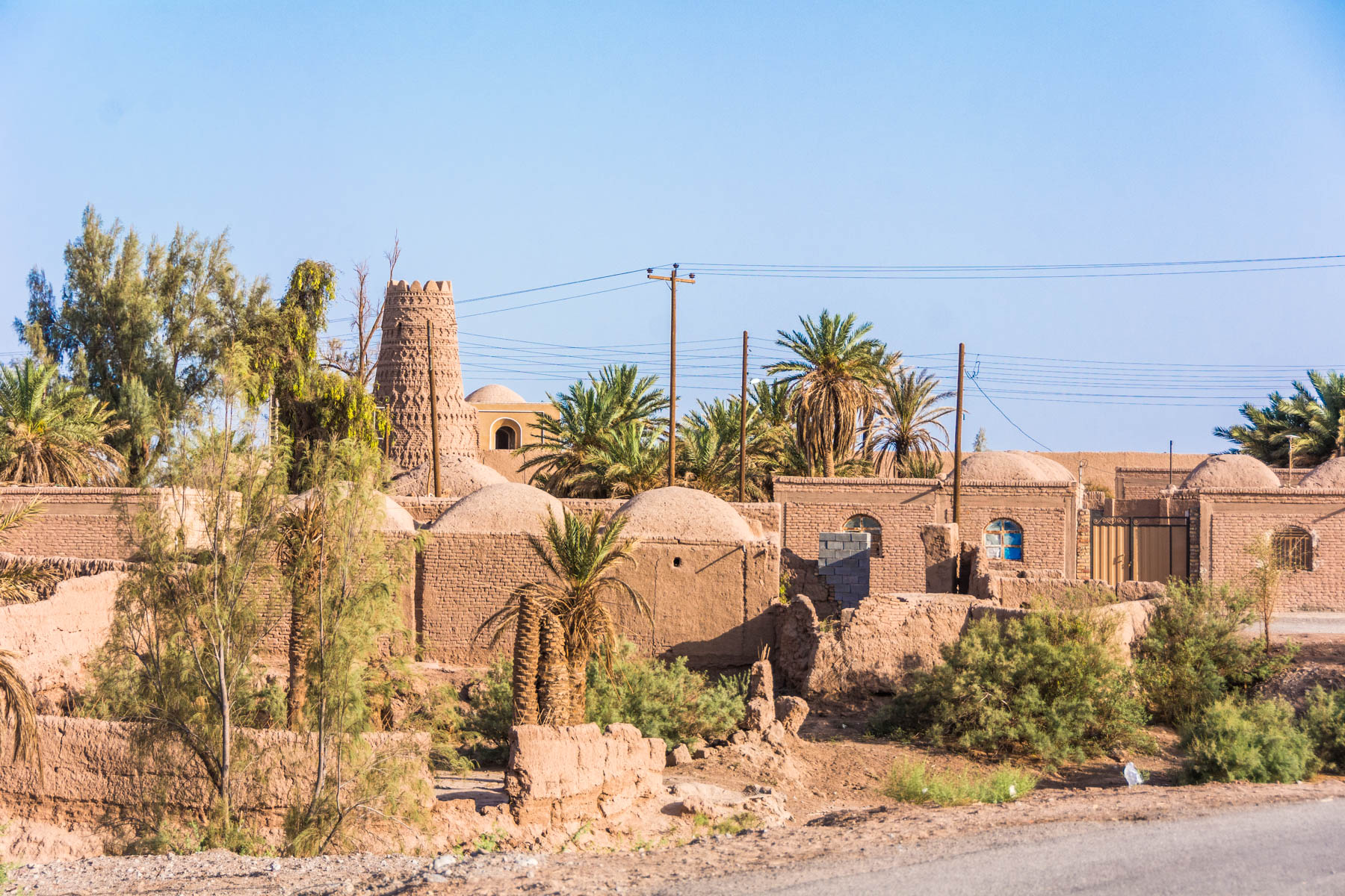 The small desert town of Shahdad, Iran in the heat of summer.