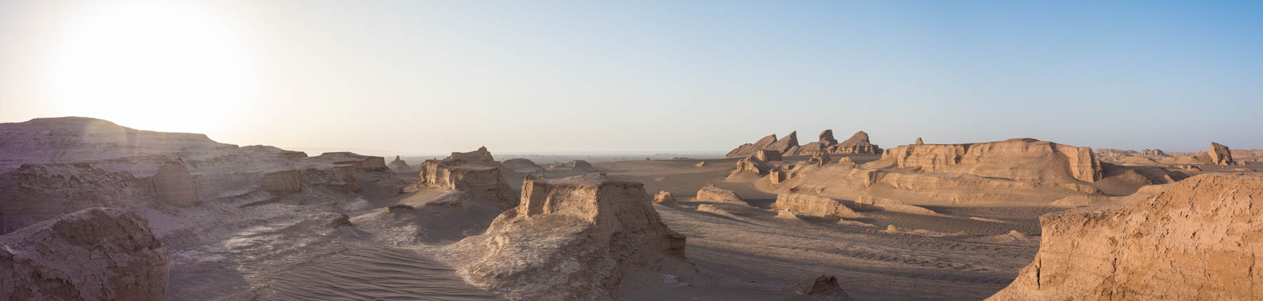 A panoramic view of the Kaluts desert in Iran