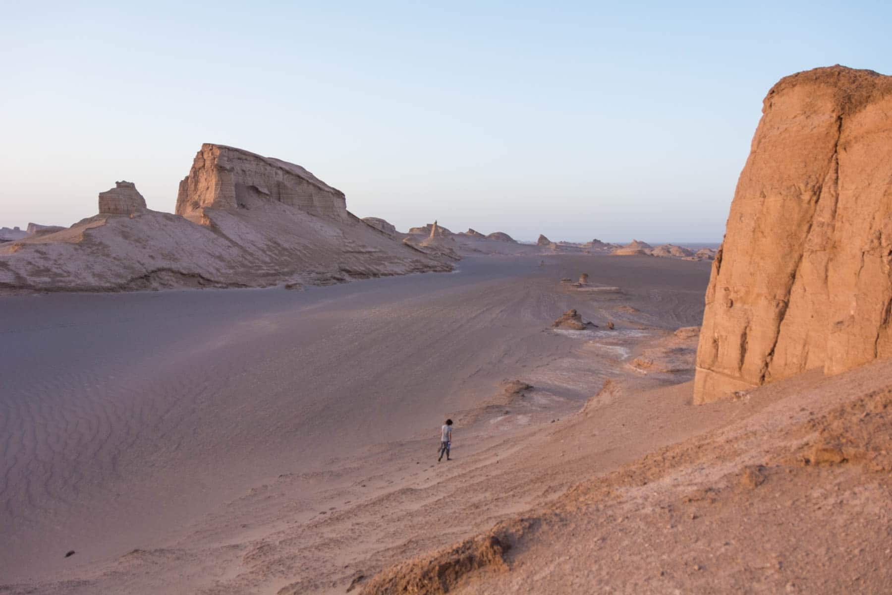 Walking around in the vast Kaluts desert in Iran
