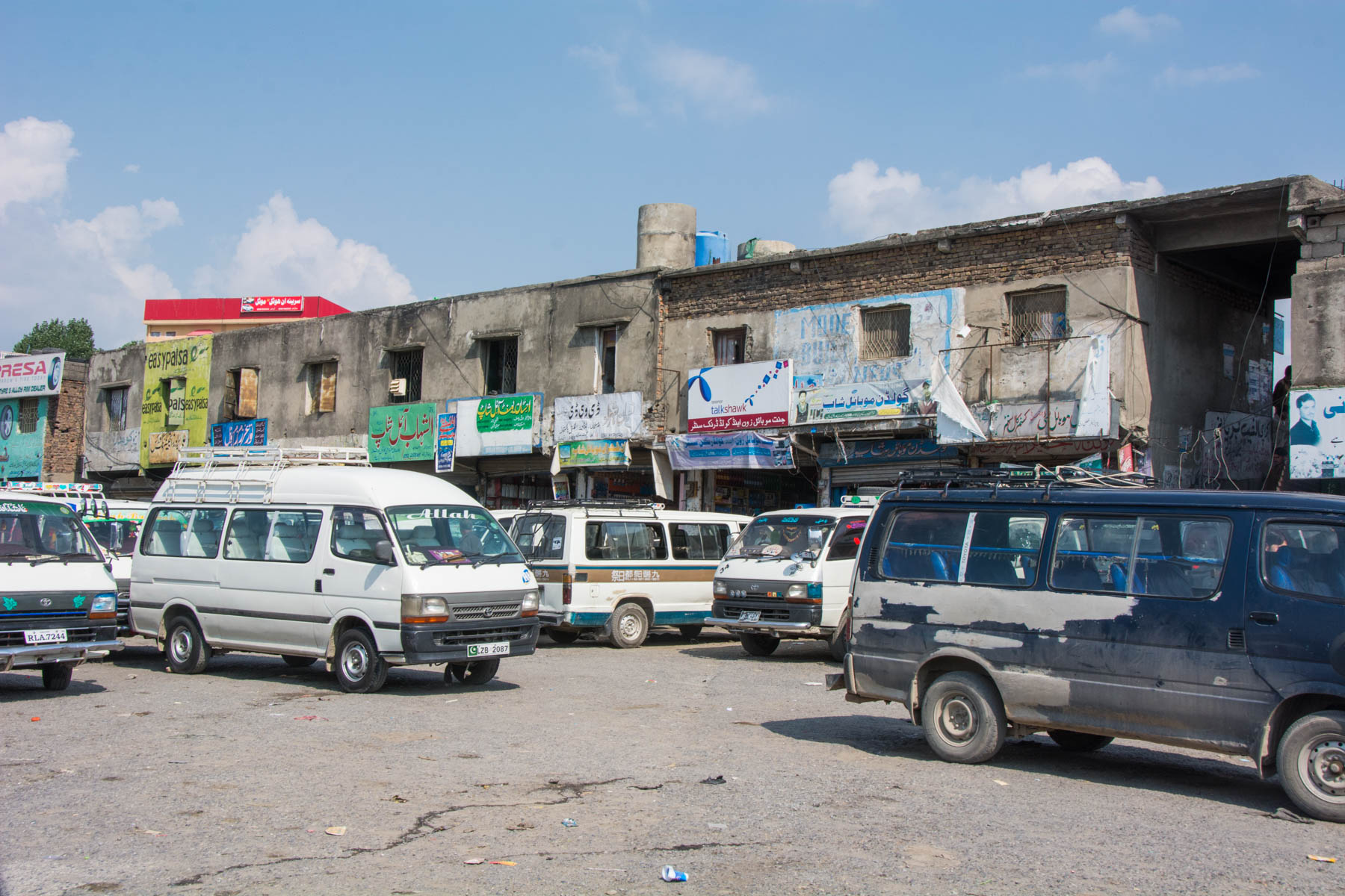 The minibus terminal for buses to Naran in Mansehra, Pakistan.