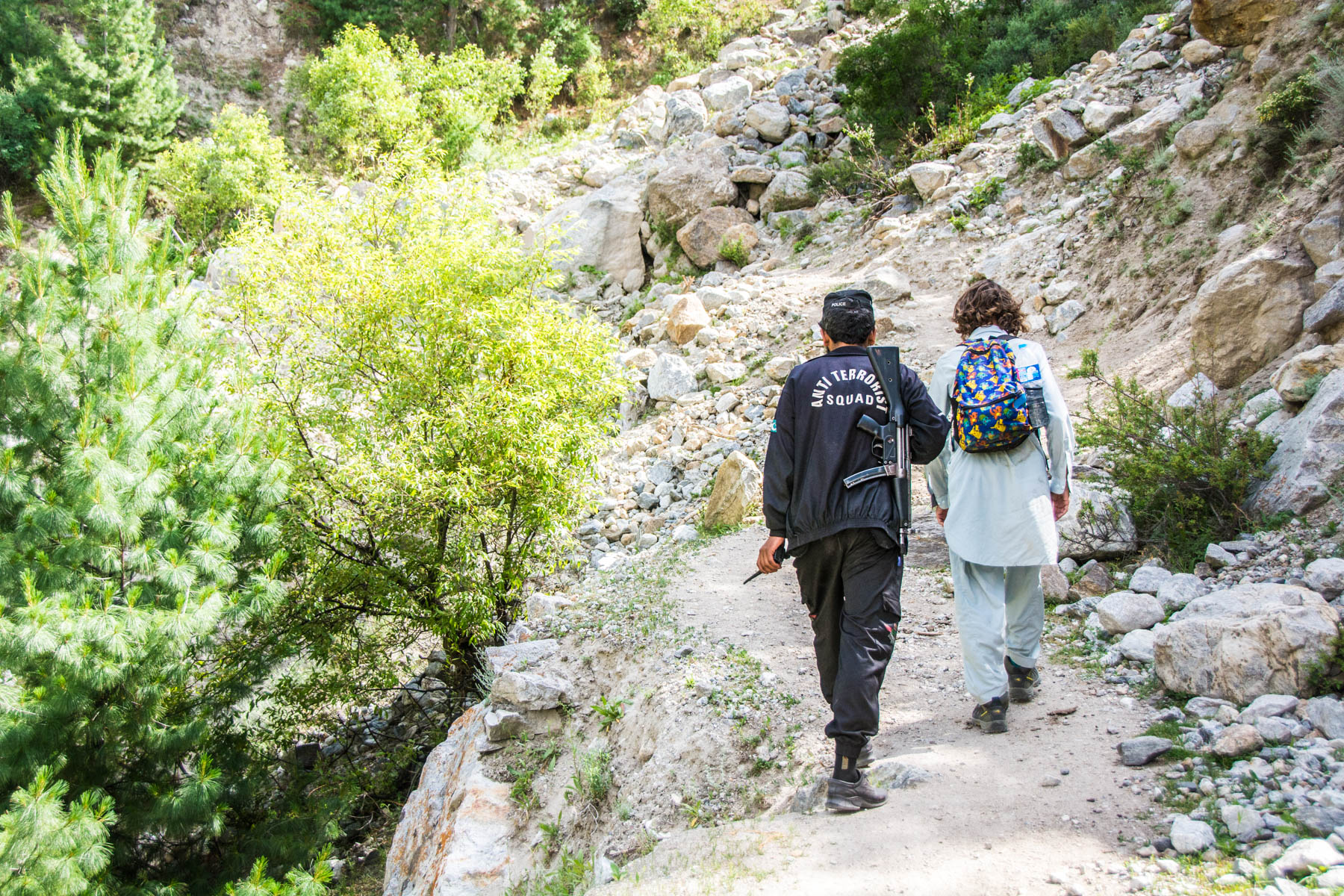 Security guard for foreigners on the way to Fairy Meadows, Pakistan.