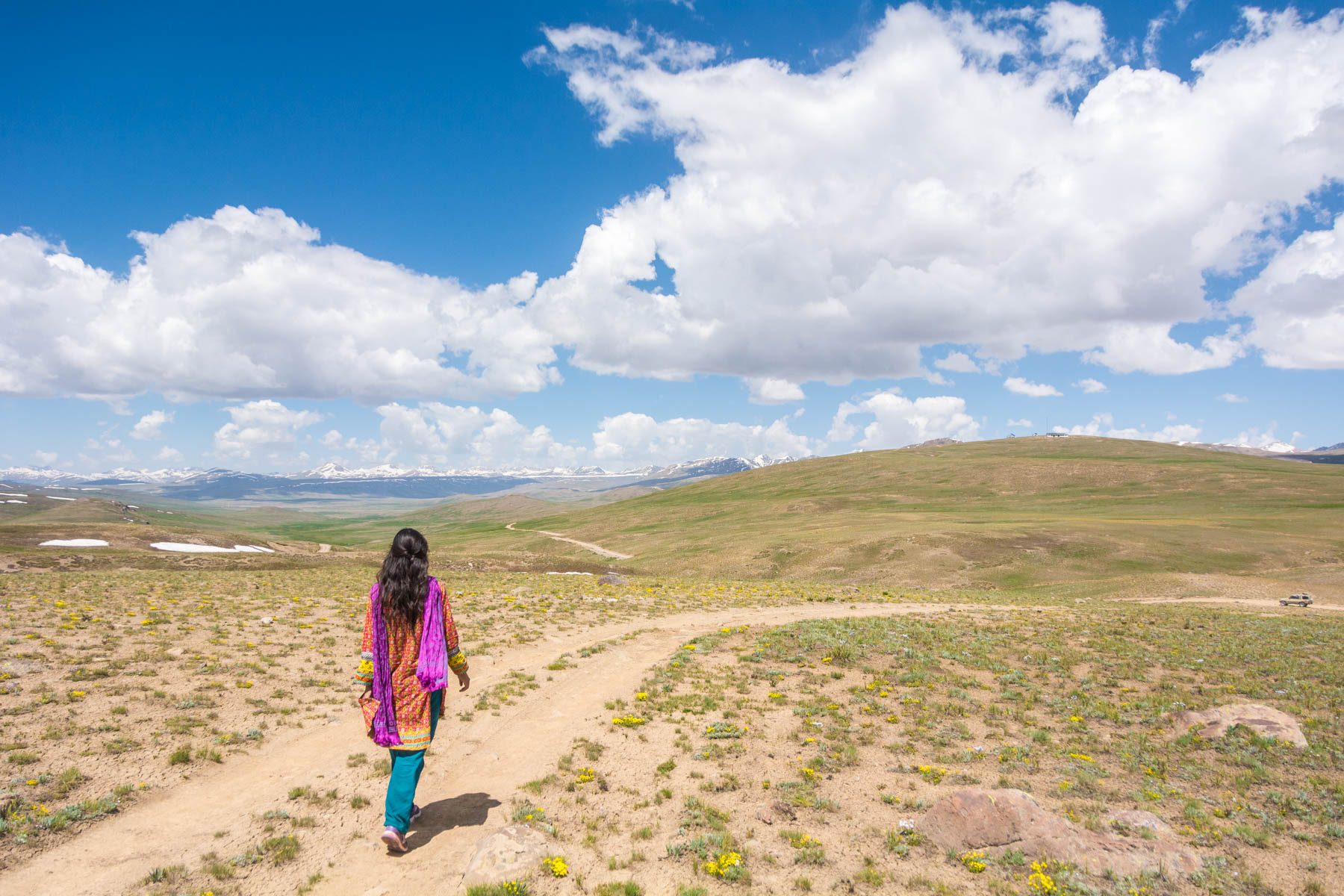 Walking in shalwaar kameez in the Deosai Plains of Pakistan