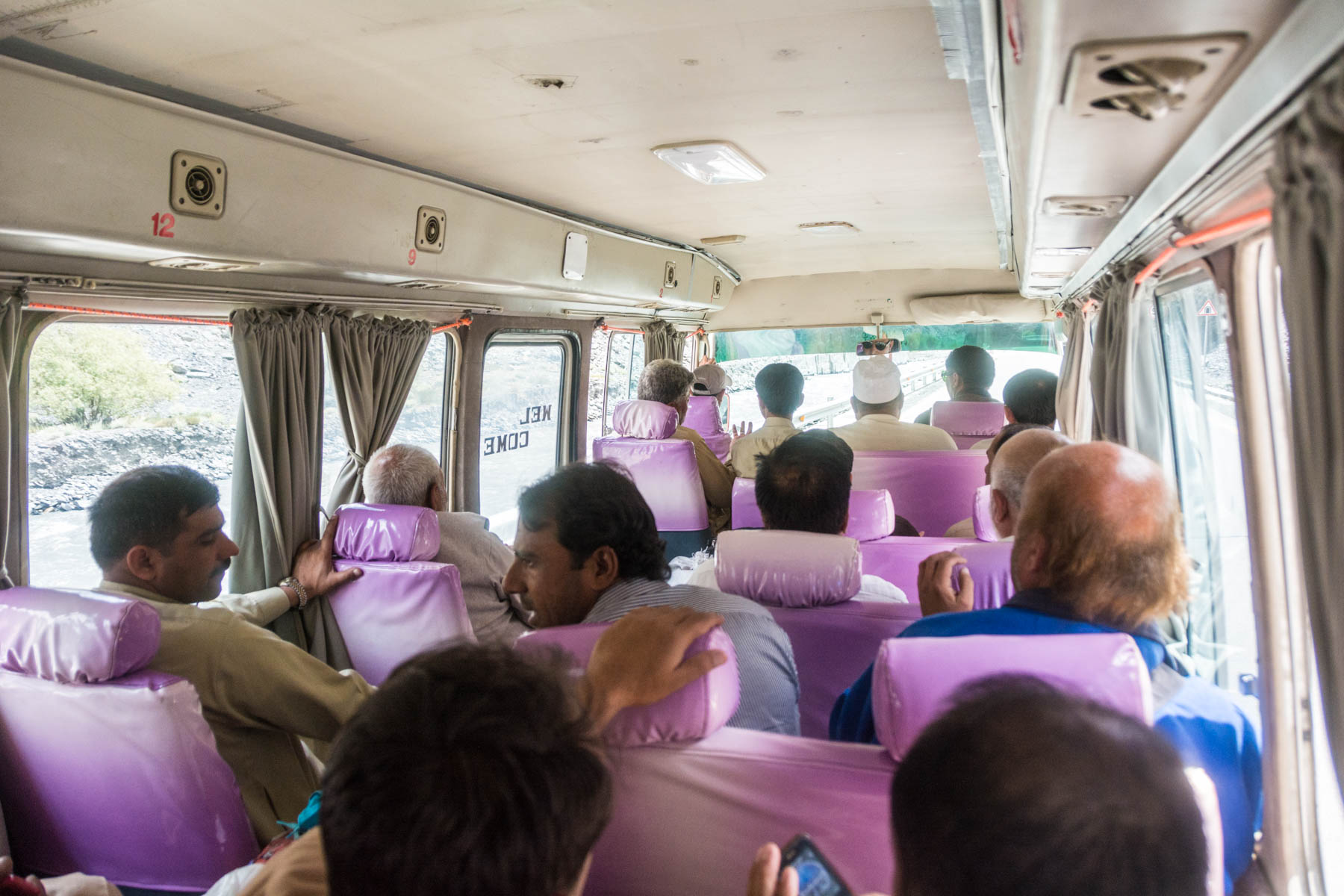 The interior of the NATCO bus from Pakistan to China