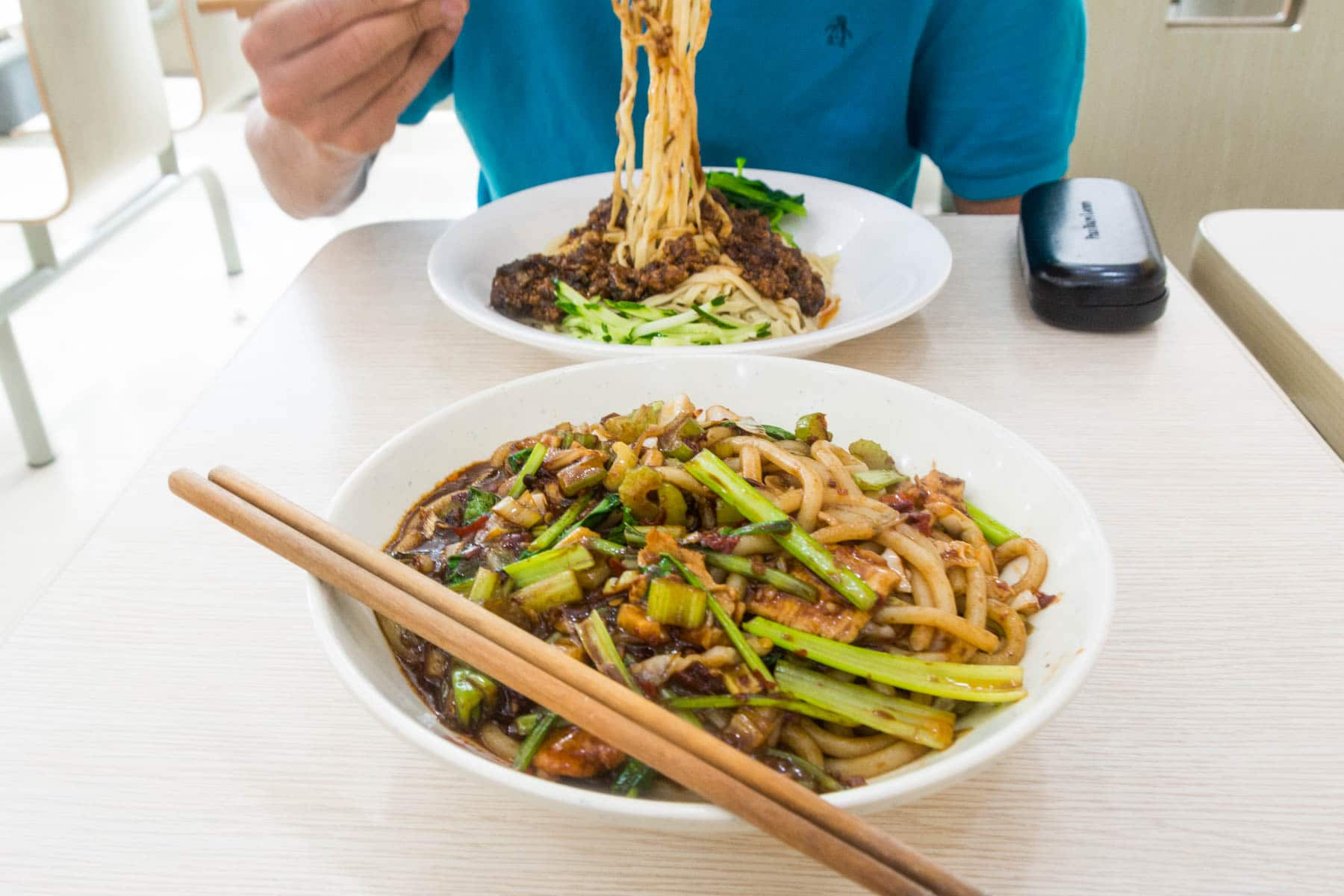 A bowl of noodles in Urumqi, China