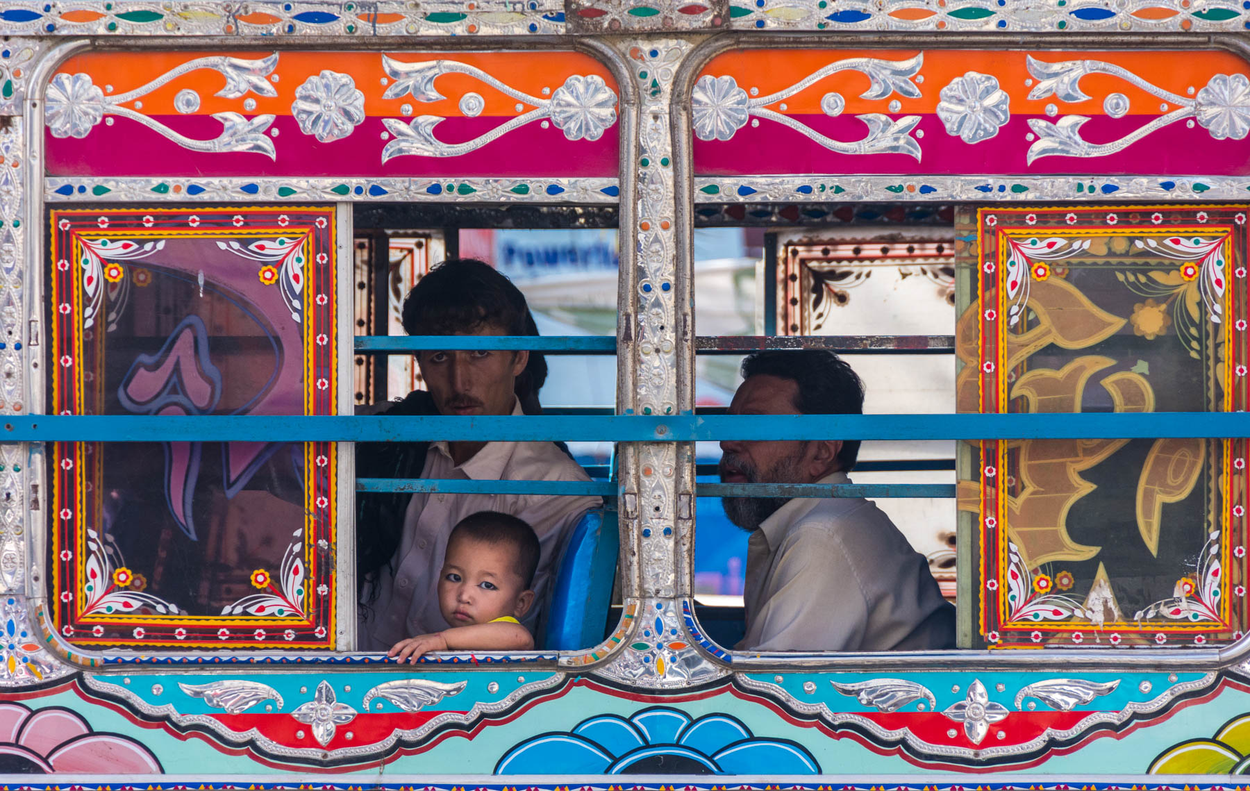 A girl in a bus in Karachi, Pakistan