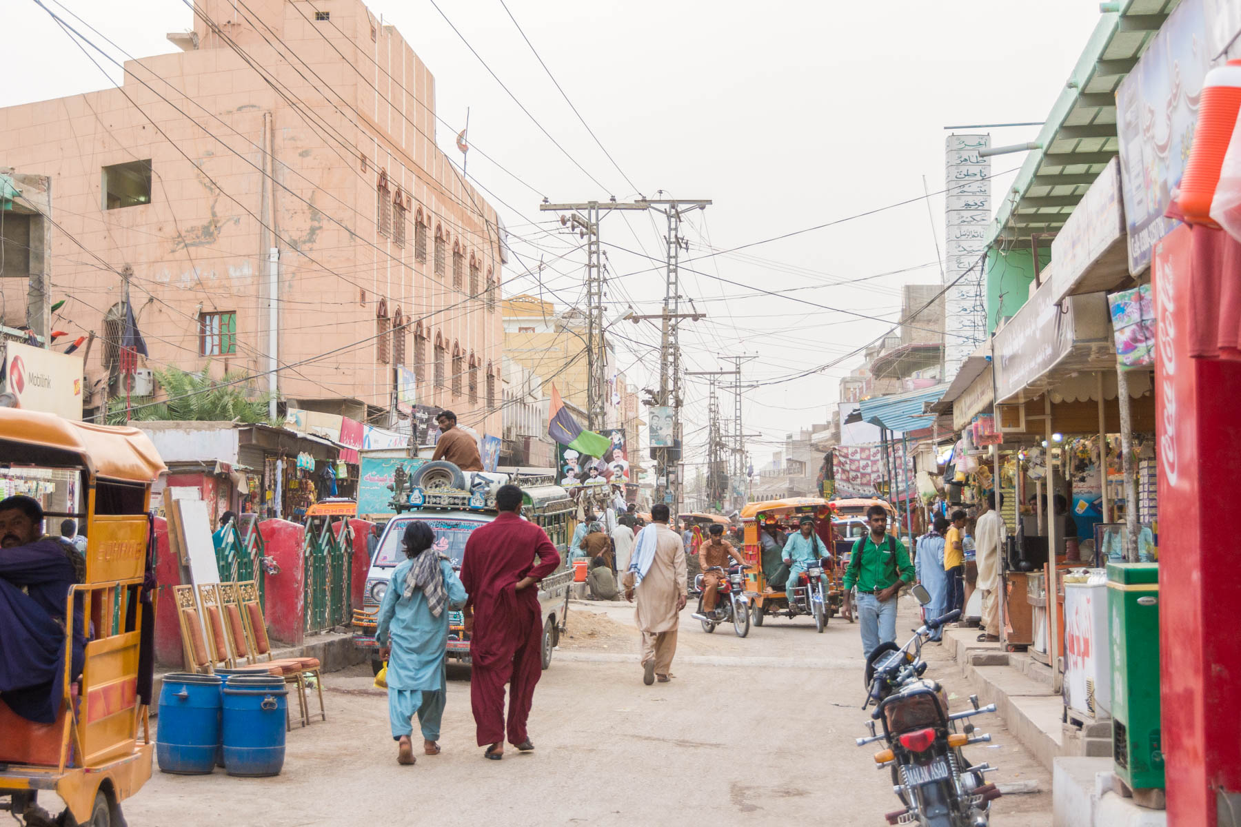 The streets of Sehwan Sharif, home to the famous Lal Shahbaz Qalandar shrine.
