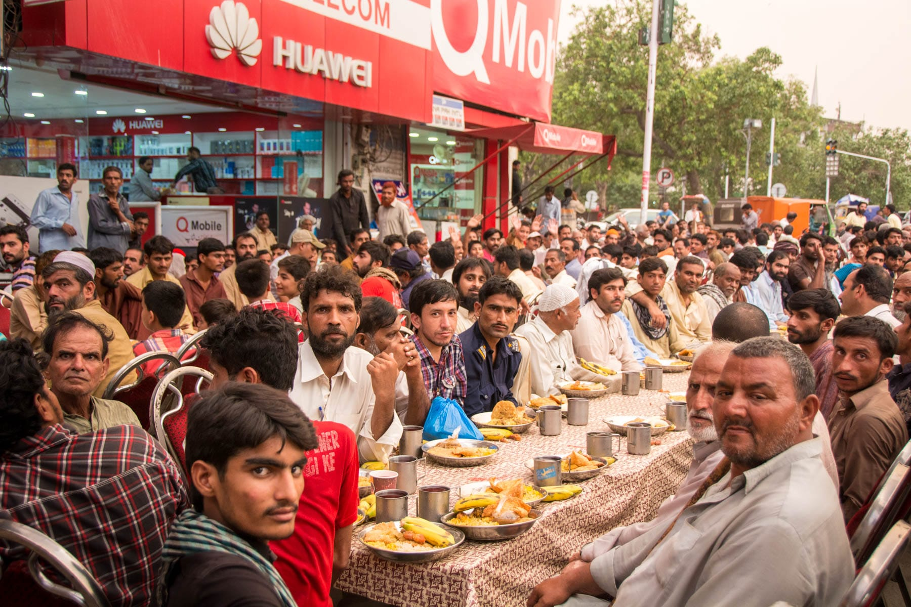 Tales of pakistani hospitality: Men waiting to have iftar during Ramdan in Lahore.