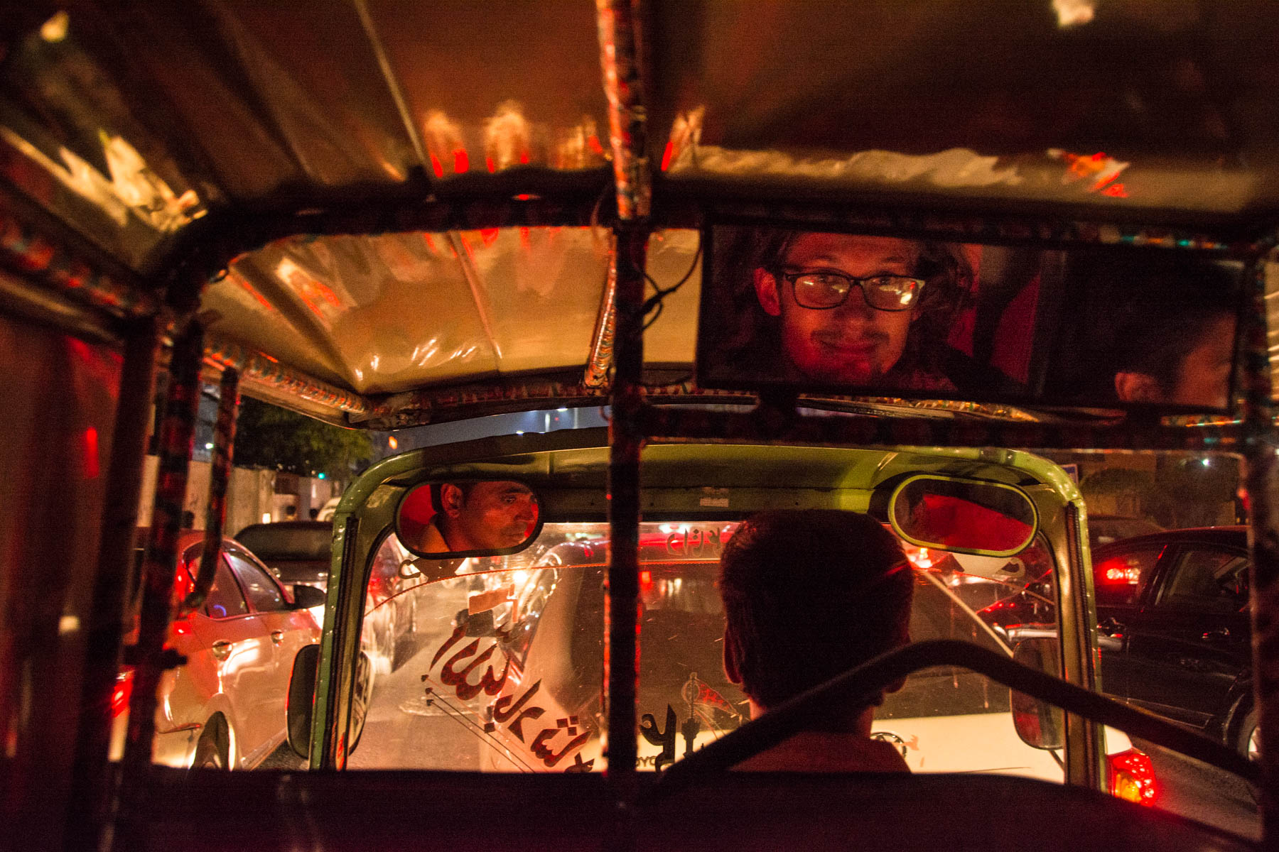 A rickshaw at night in Lahore, Pakistan