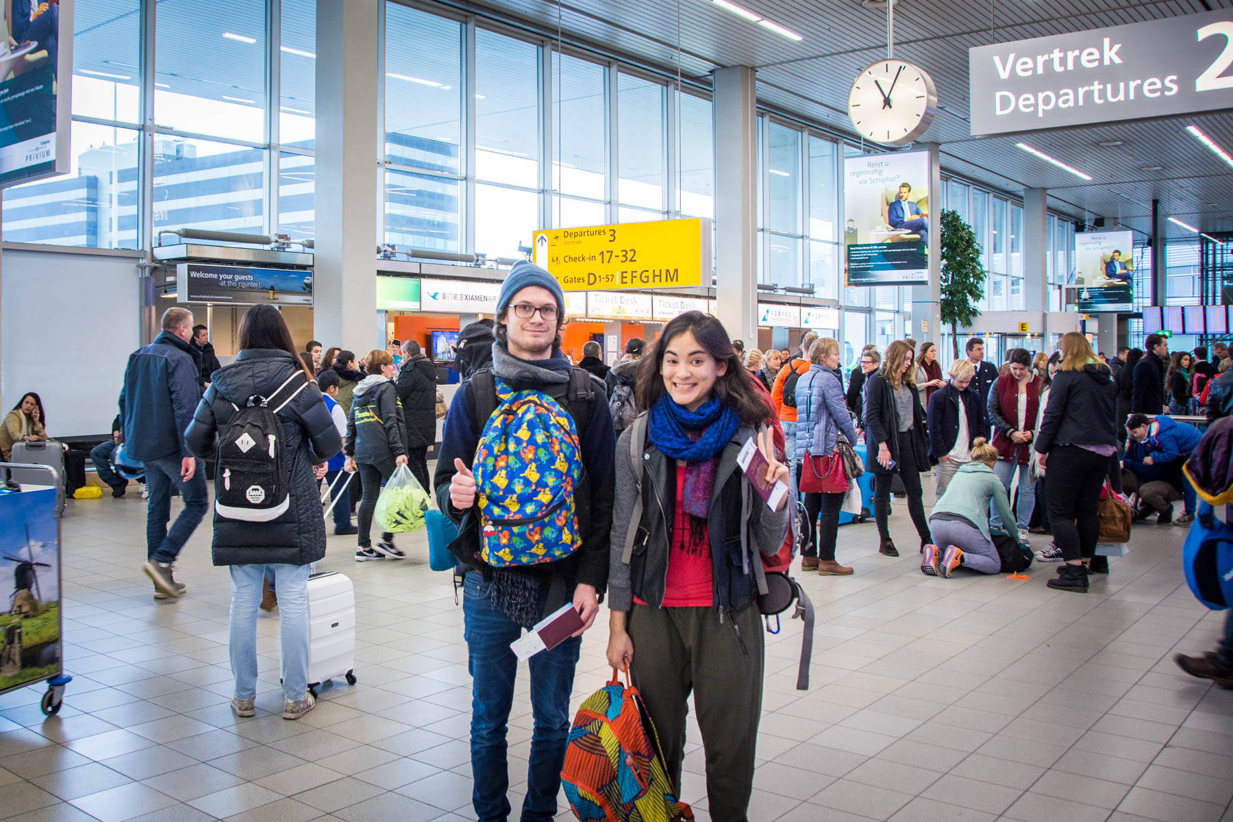 Our journey beginning in Schiphol Airport, Amsterdam