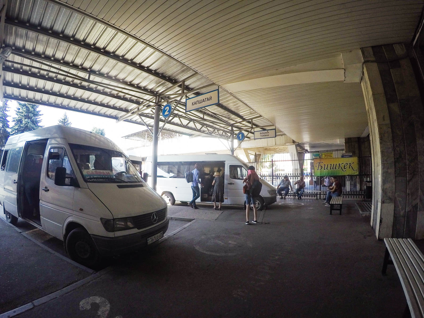 The marshrutka to the Kazakhstan - Kyrgyzstan border crossing at Kordai, at the Sayran bus station in Almaty