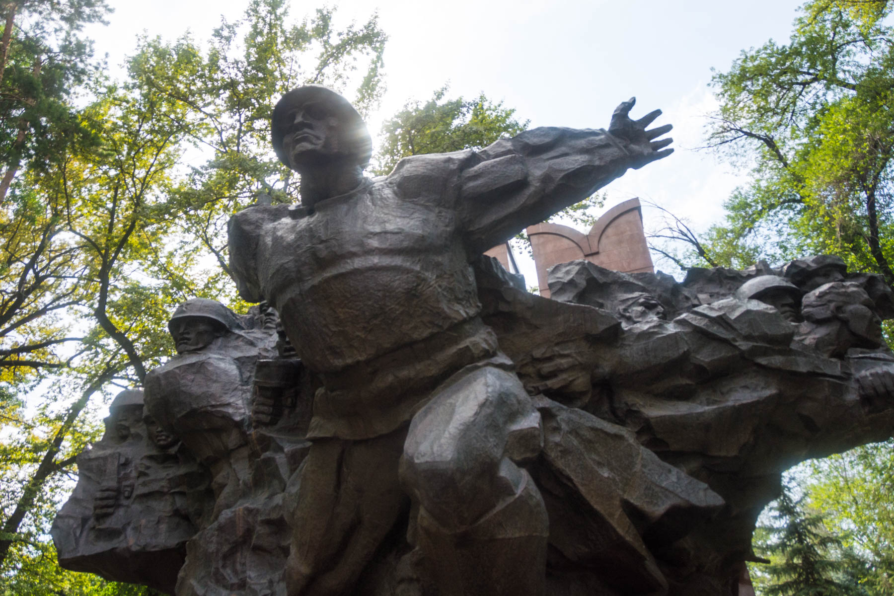 Soviet statue in Almaty's Panfilov Park - Lost With Purpose