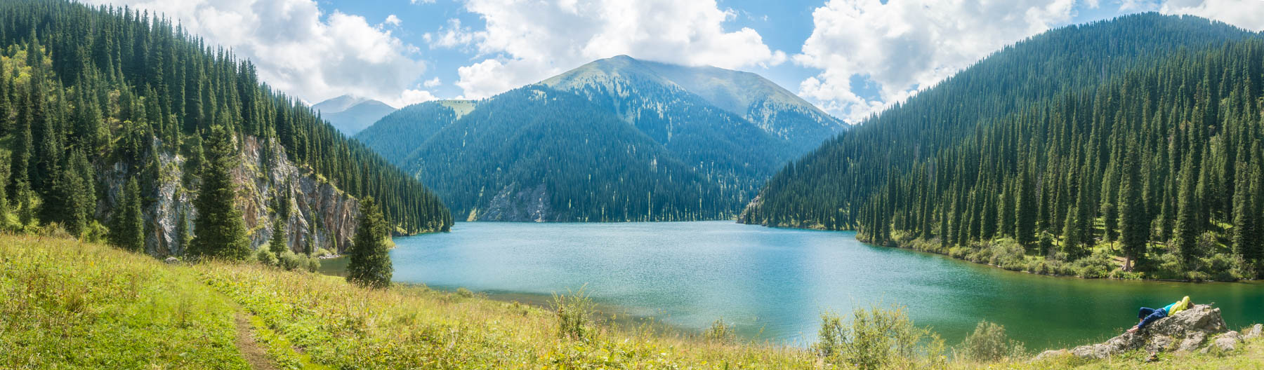 A panorama of the second lake at Kolsai National Park, Kazakhstan - Lost With Purpose