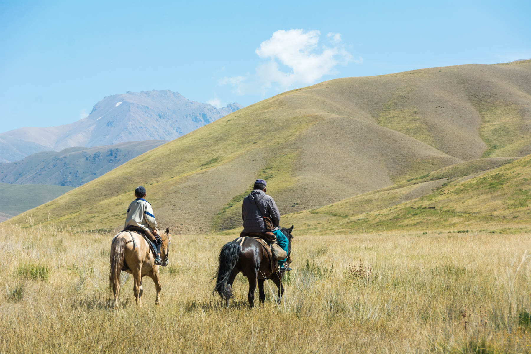 A father and son riding horses in Kyrgyzstan - Lost With Purpose