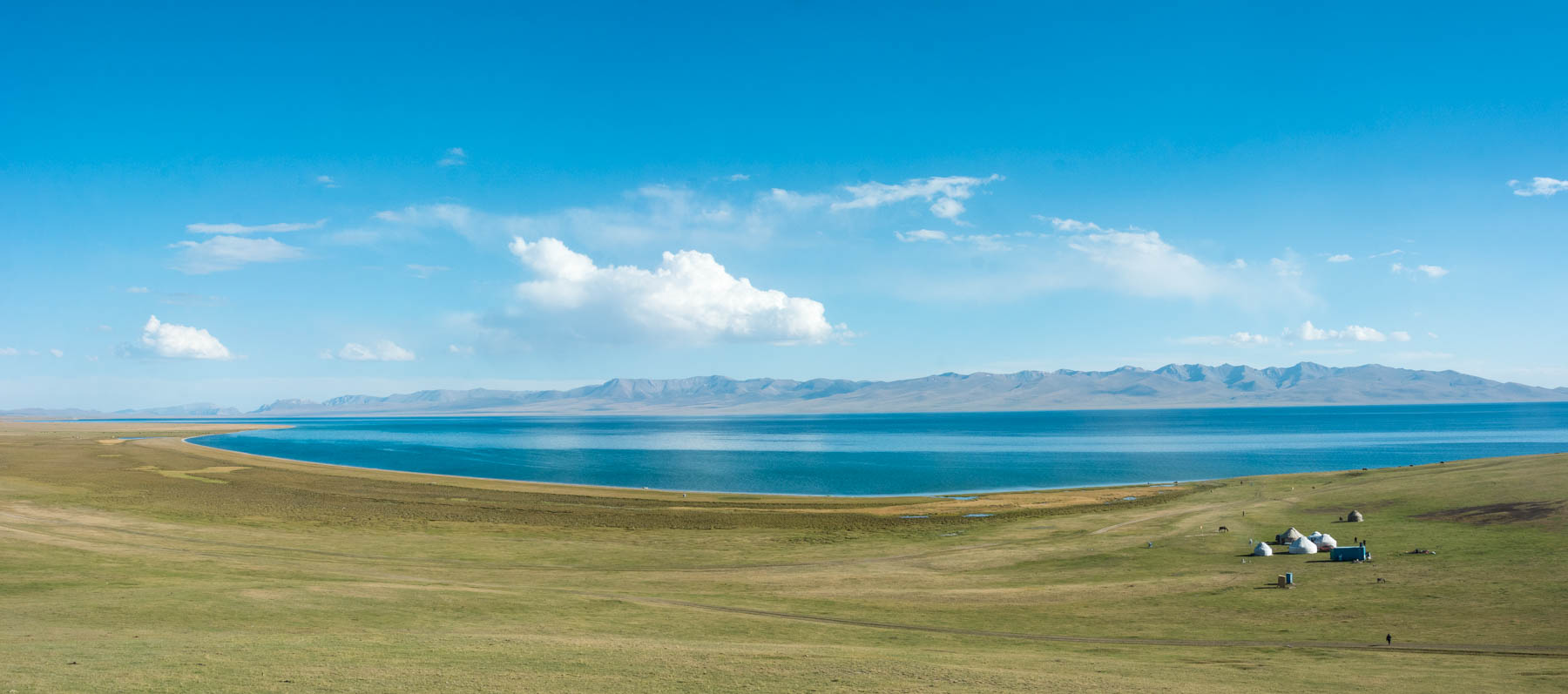 Panorama of Song Kul lake in Kyrgyzstan - Lost With Purpose