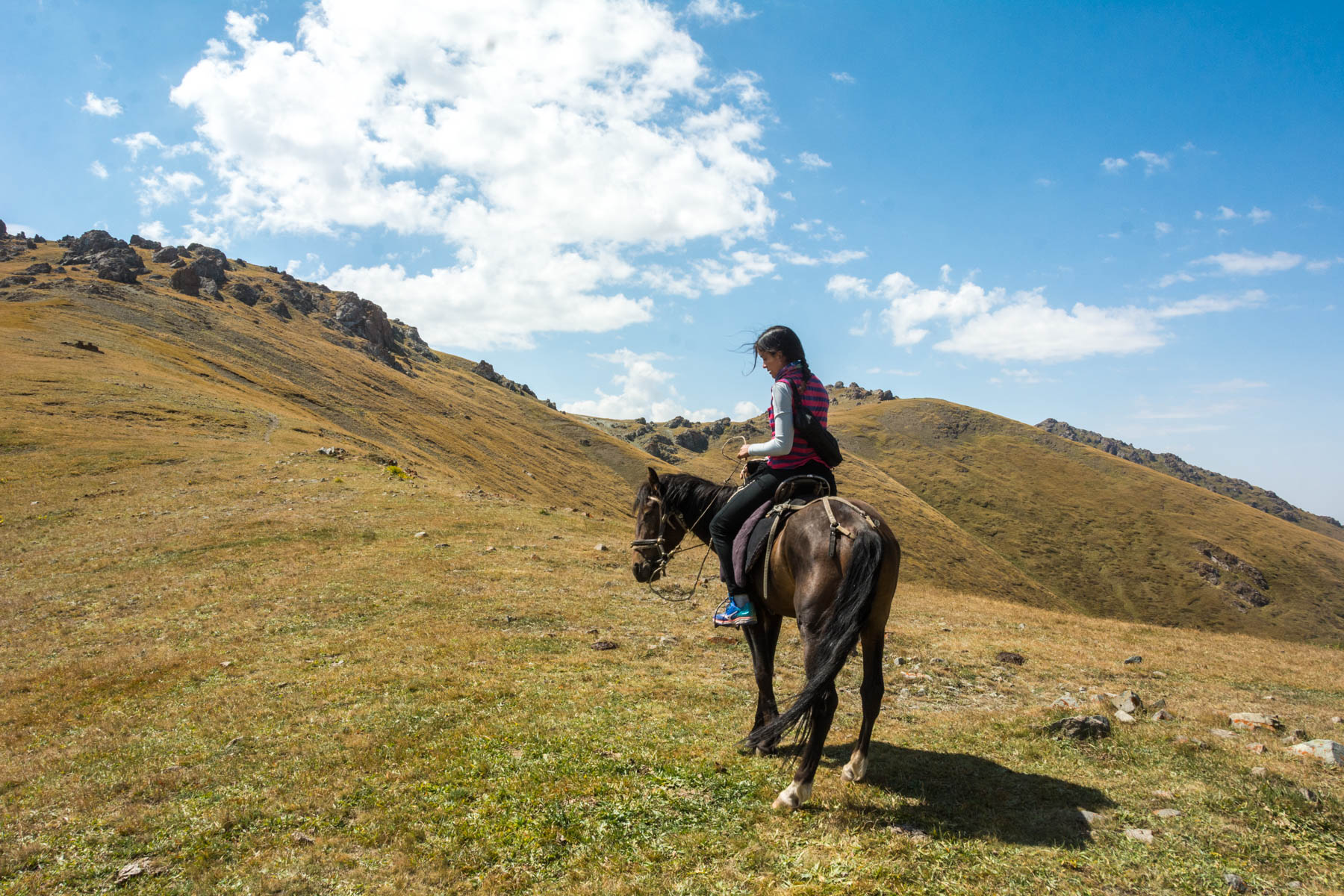 Alex riding a horse in Kyzart pass in Kyrgyzstan - Lost With Purpose