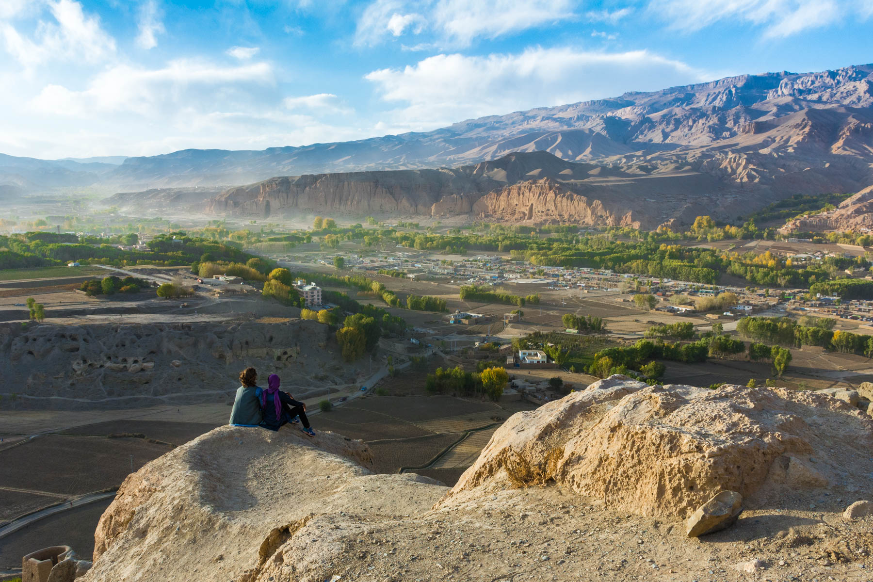Overlooking the destroyed Buddha caves in Bamyan, Afghanistan - Lost With Purpose